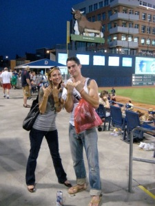 Sean's birthday at the Durham Bulls baseball park.